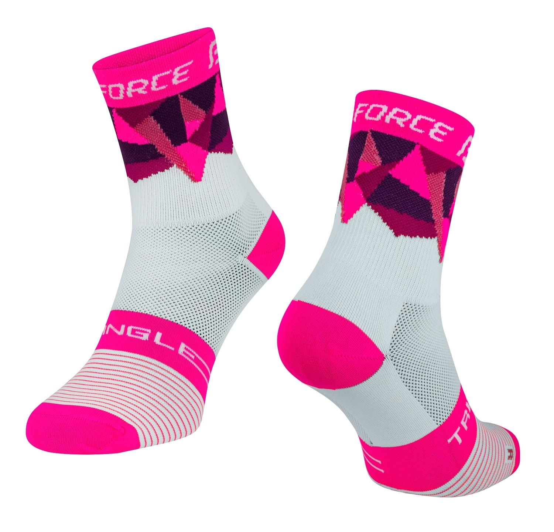 ponožky FORCE TRIANGLE, bílo-růžové S-M