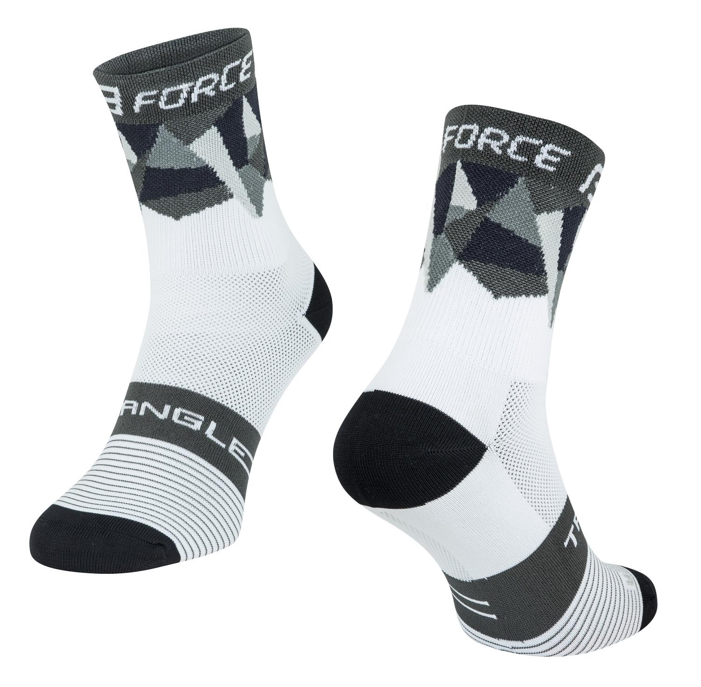 ponožky FORCE TRIANGLE, bílo-šedo-černé L-XL