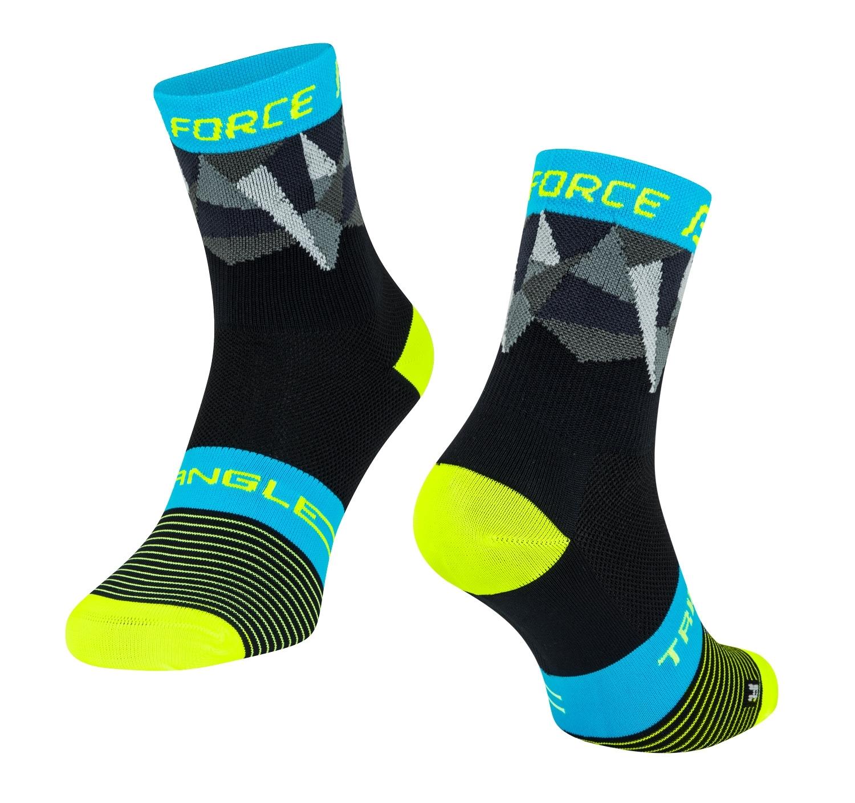 ponožky FORCE TRIANGLE, černo-fluo-modré L-XL