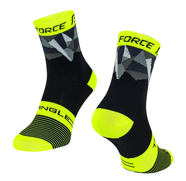 ponožky FORCE TRIANGLE, černo-fluo-šedé L-XL