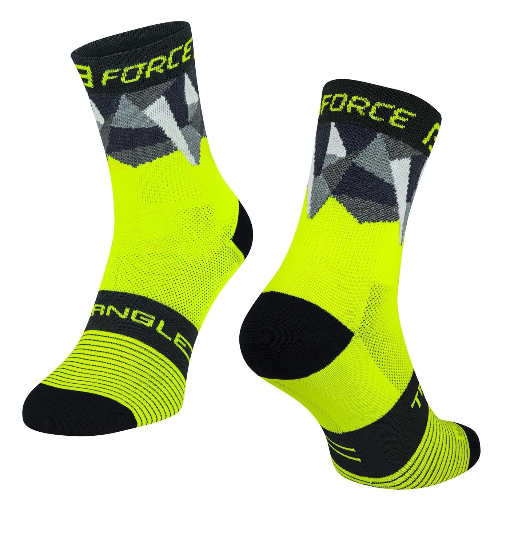 ponožky FORCE TRIANGLE, fluo-černé L-XL