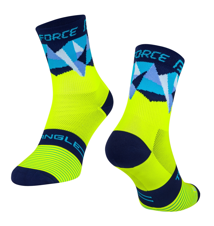 ponožky FORCE TRIANGLE, fluo-modré L-XL
