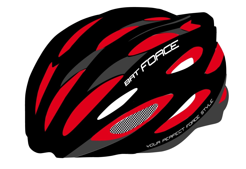 přilba FORCE BAT, černo-červená lesk L - XL