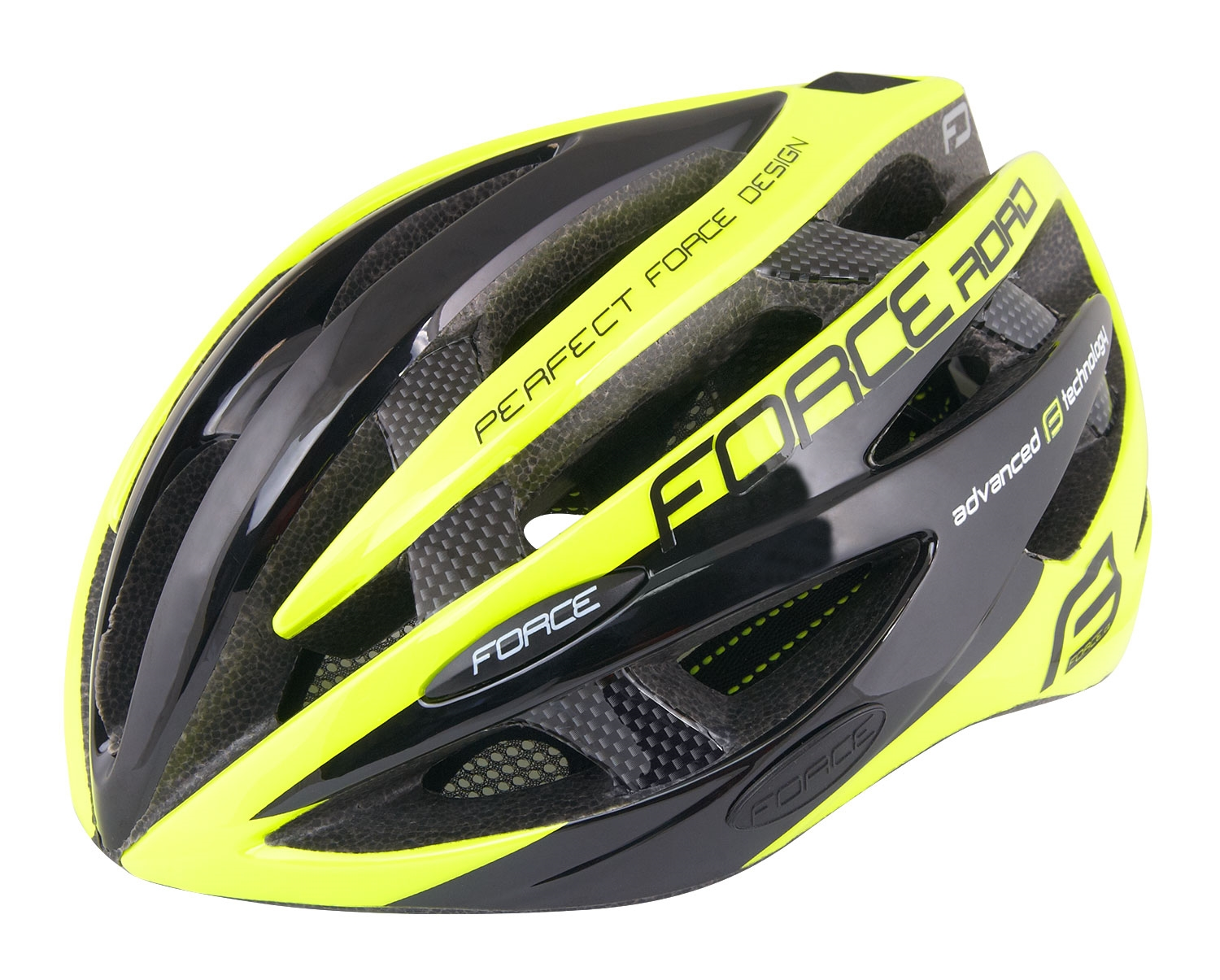 přilba FORCE ROAD JUNIOR, černo-fluo XS-S