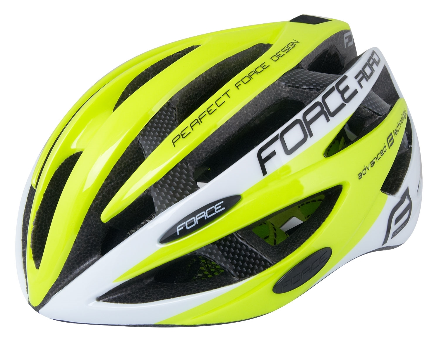 přilba FORCE ROAD JUNIOR, fluo-bílá XS-S