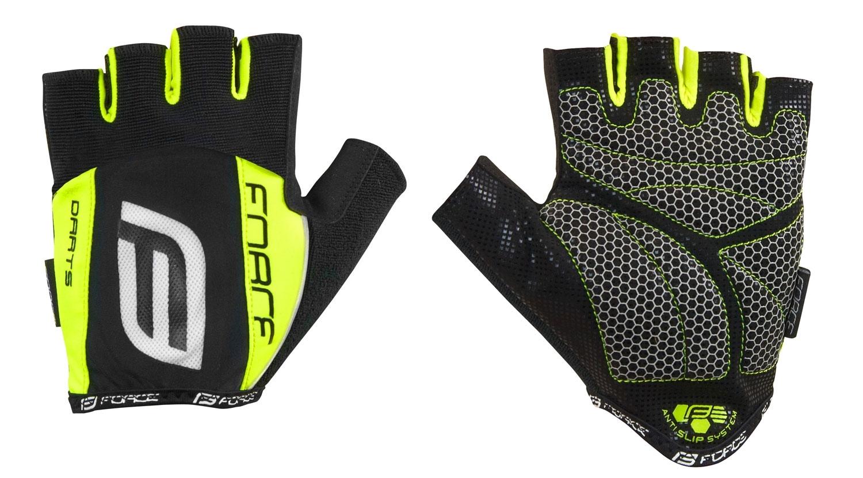 rukavice F DARTS 17 gel bez zapínání,černé-fluo M