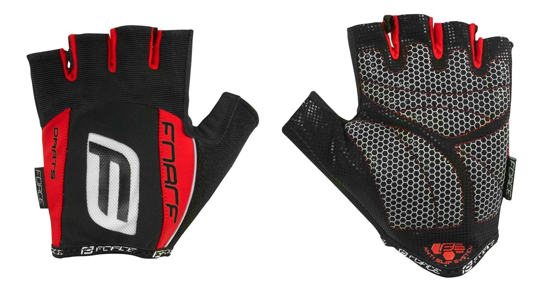 rukavice F DARTS 17 gel bez zapínání,černo-červ M