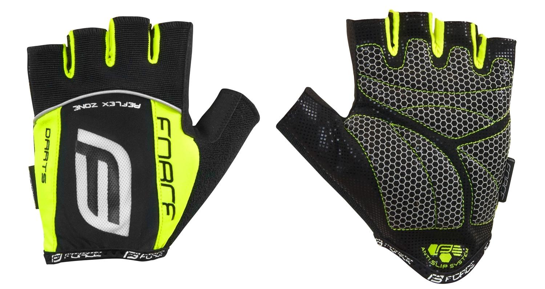 rukavice F DARTS gel bez zapínání, černé-fluo XL