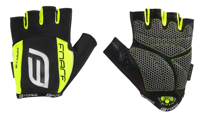 rukavice F DARTS  gel bez zapínání, černo-fluo S