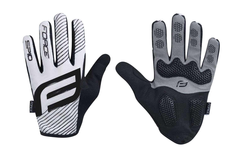 rukavice F MTB SPID 17 letní bez zapínání,bílé XS