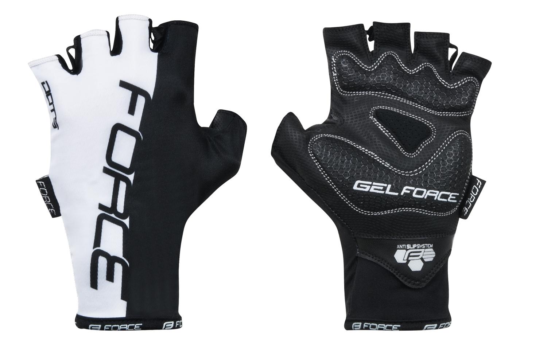 rukavice FORCE DOTS bez zapínání, bílo-černé XL