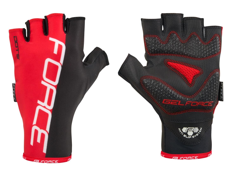 rukavice FORCE DOTS bez zapínání, červeno-černé XL