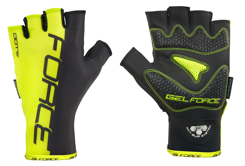 rukavice FORCE DOTS bez zapínání, fluo-černé XL