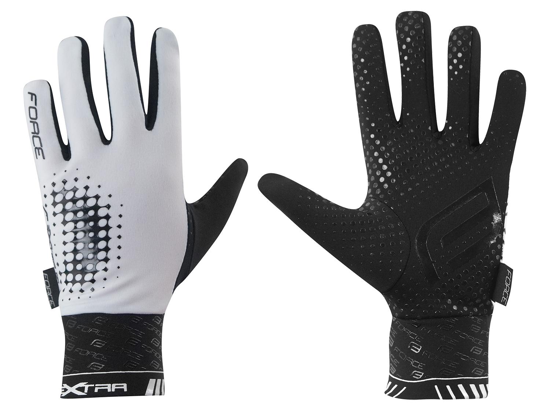 rukavice FORCE EXTRA, jaro-podzim, bílo-černé XL
