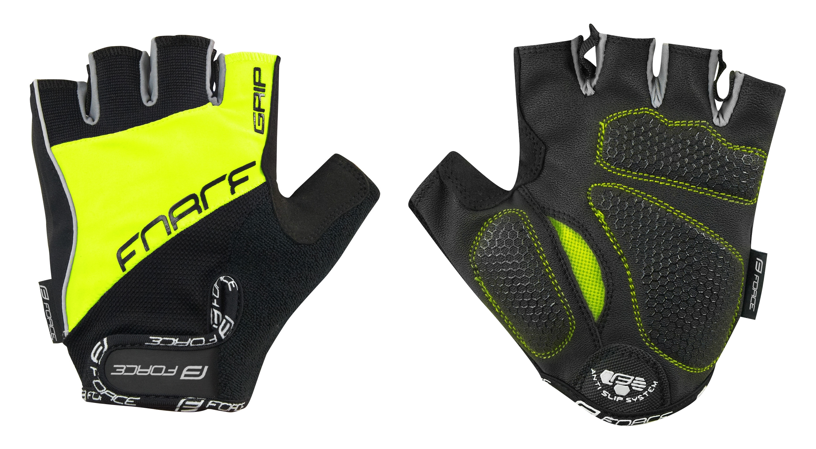 rukavice FORCE GRIP gel, fluo XXL