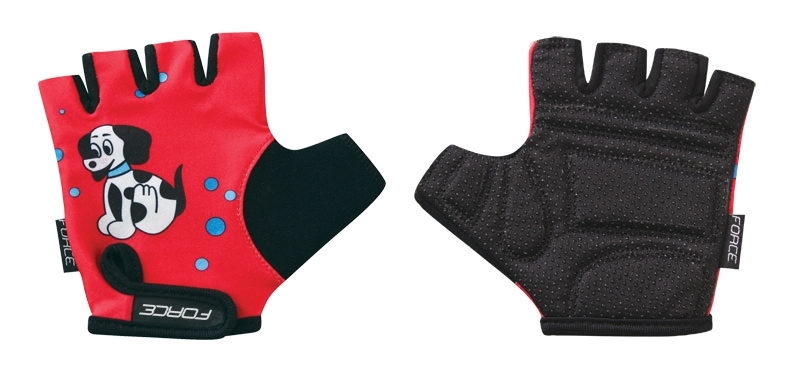 rukavice FORCE KID dětské červené - pejsek