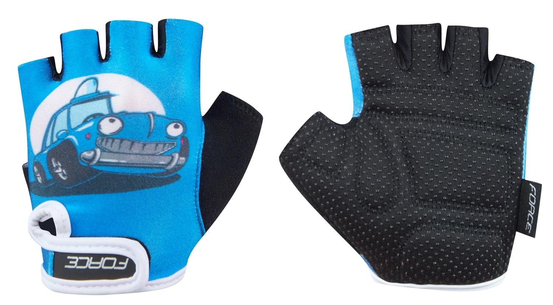 rukavice FORCE KID dětské, modré-auto S