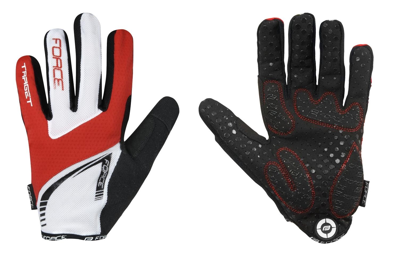 rukavice FORCE MTB TARGET letní, červeno-bílé XL