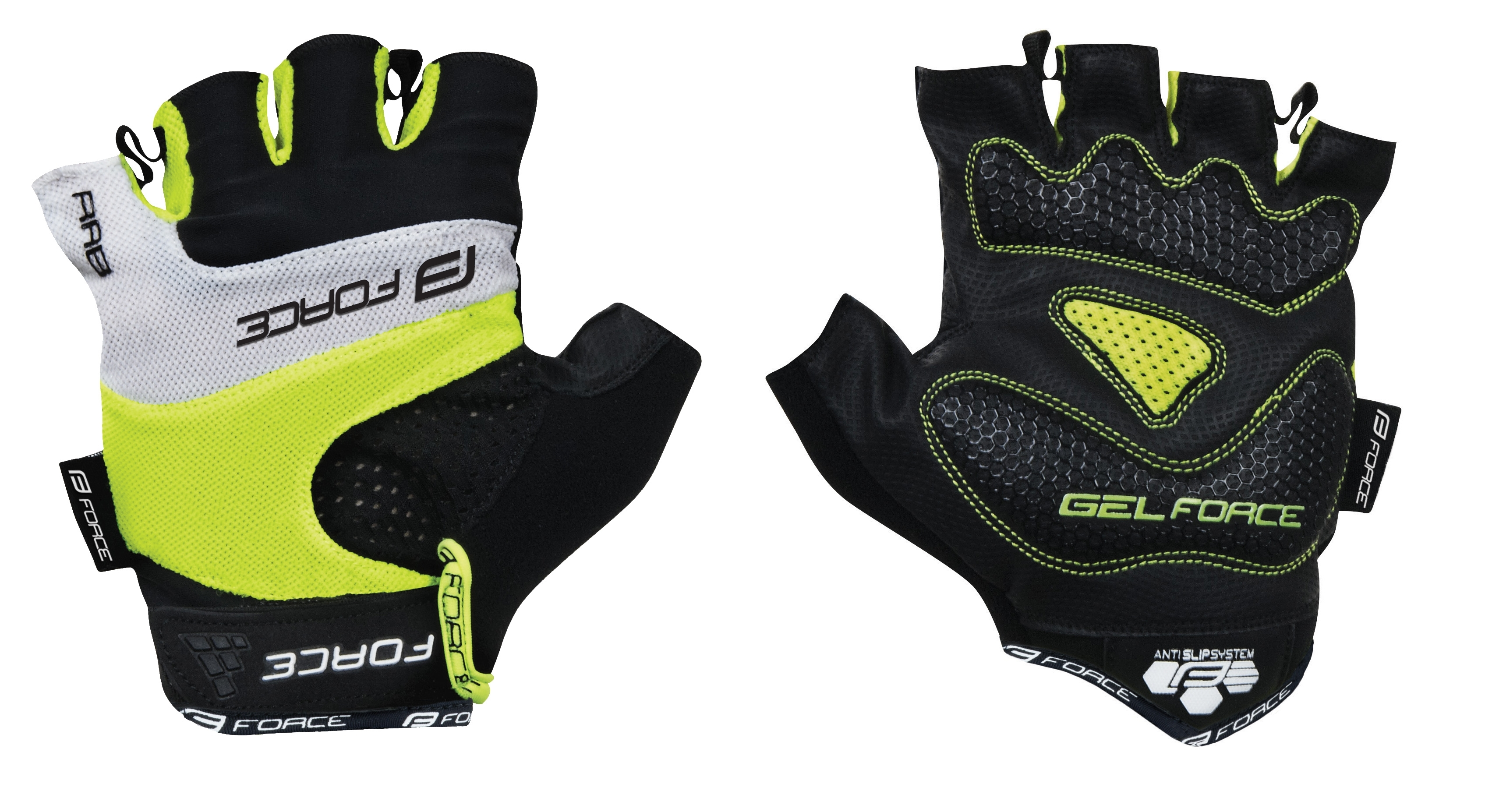 rukavice FORCE RAB gel, fluo XL