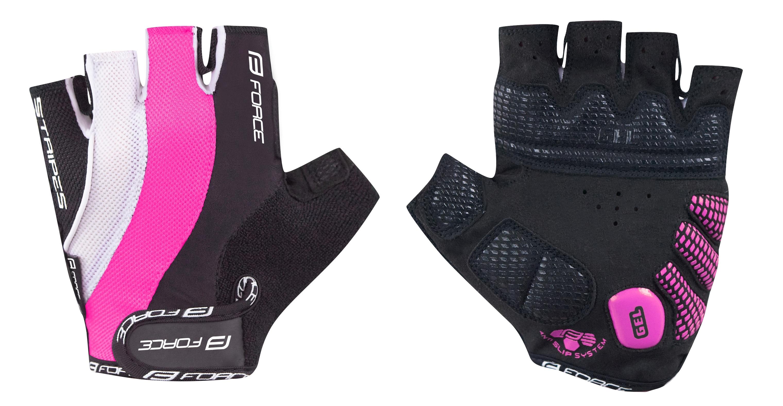 rukavice FORCE STRIPES gel dámské, růžové XS
