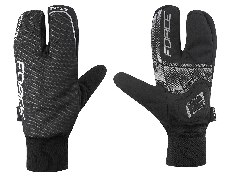 rukavice zimní FORCE HOT RAK 3-prsté, černé XL
