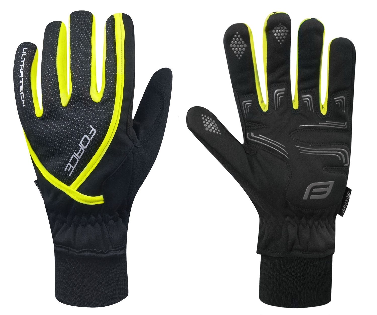 rukavice zimní FORCE ULTRA TECH, fluo XXL