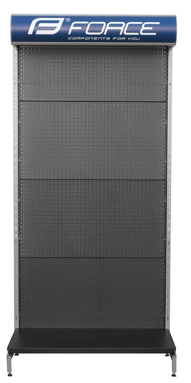 skříň prodejní FORCE s osvětlením+70 háčků, černá