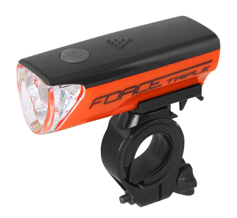 světlo přední FORCE TRIPLE 3 diody +bat.,oranžové