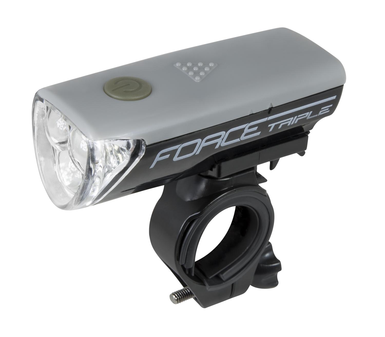 světlo přední FORCE TRIPLE 3 diody +baterie, šedé