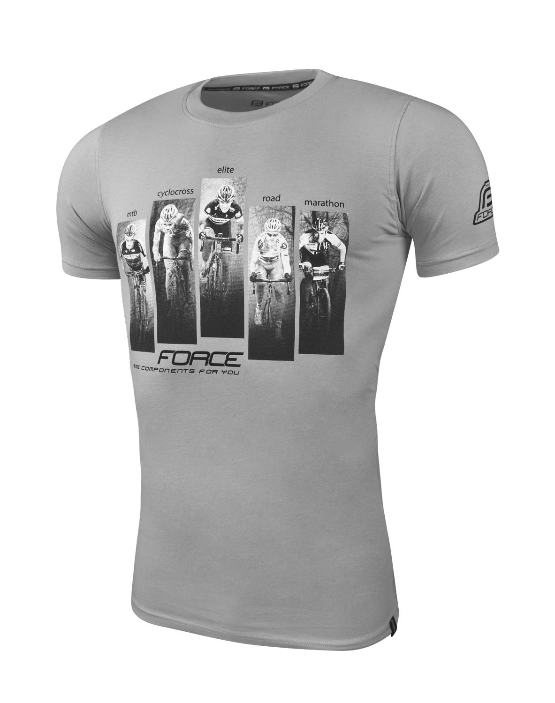 triko FORCE WORLD krátký rukáv, šedé L