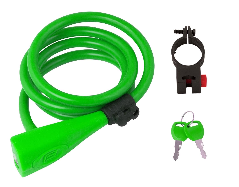 zámek F spirál.silikonový 120cm/10mm +držák,zelený