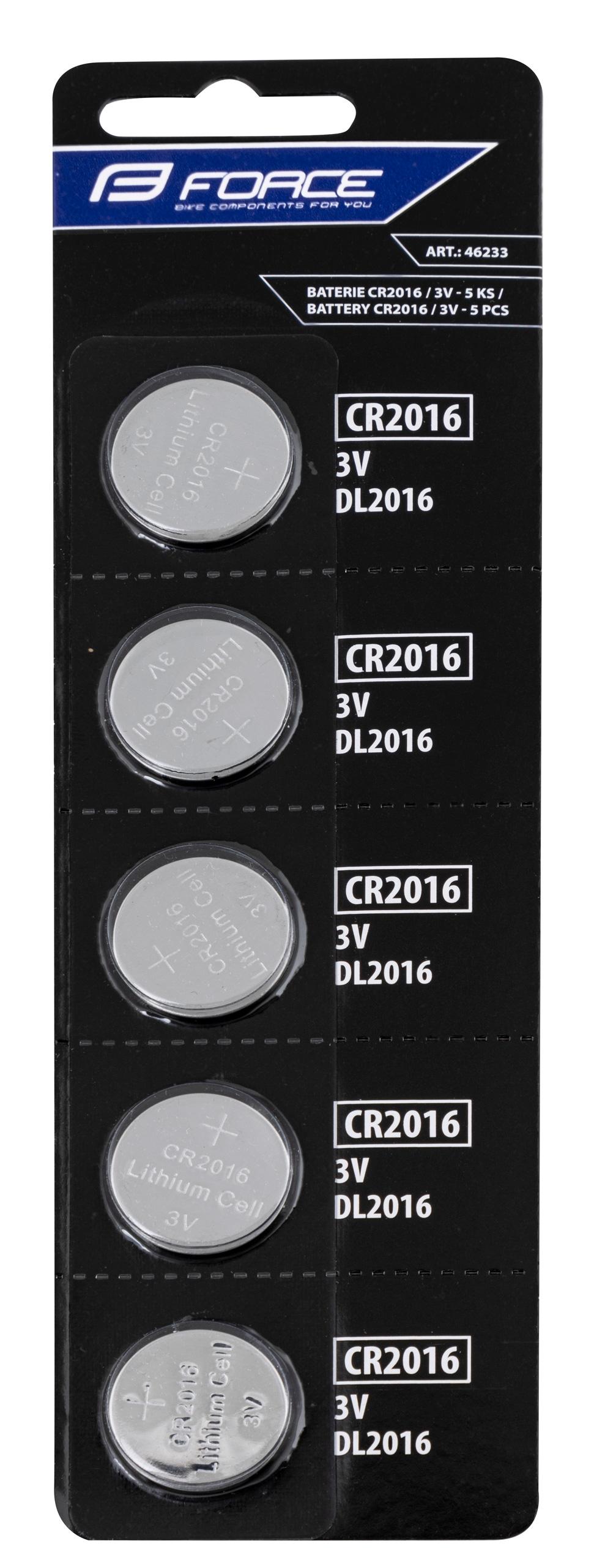 baterie FORCE mincové CR2016 / 3V 1 x 5 ks