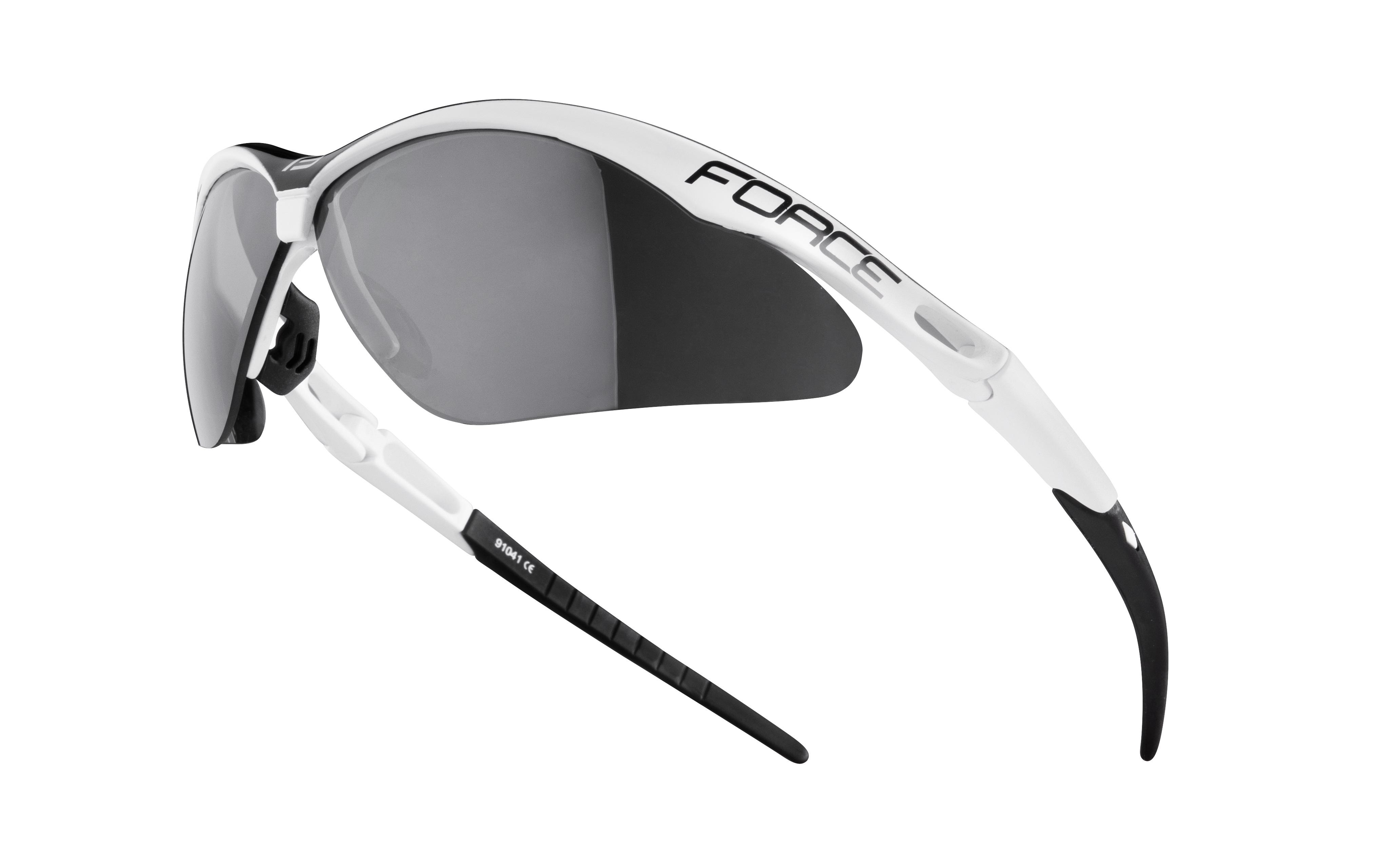 brýle FORCE AIR bílo-černé, černá laser skla