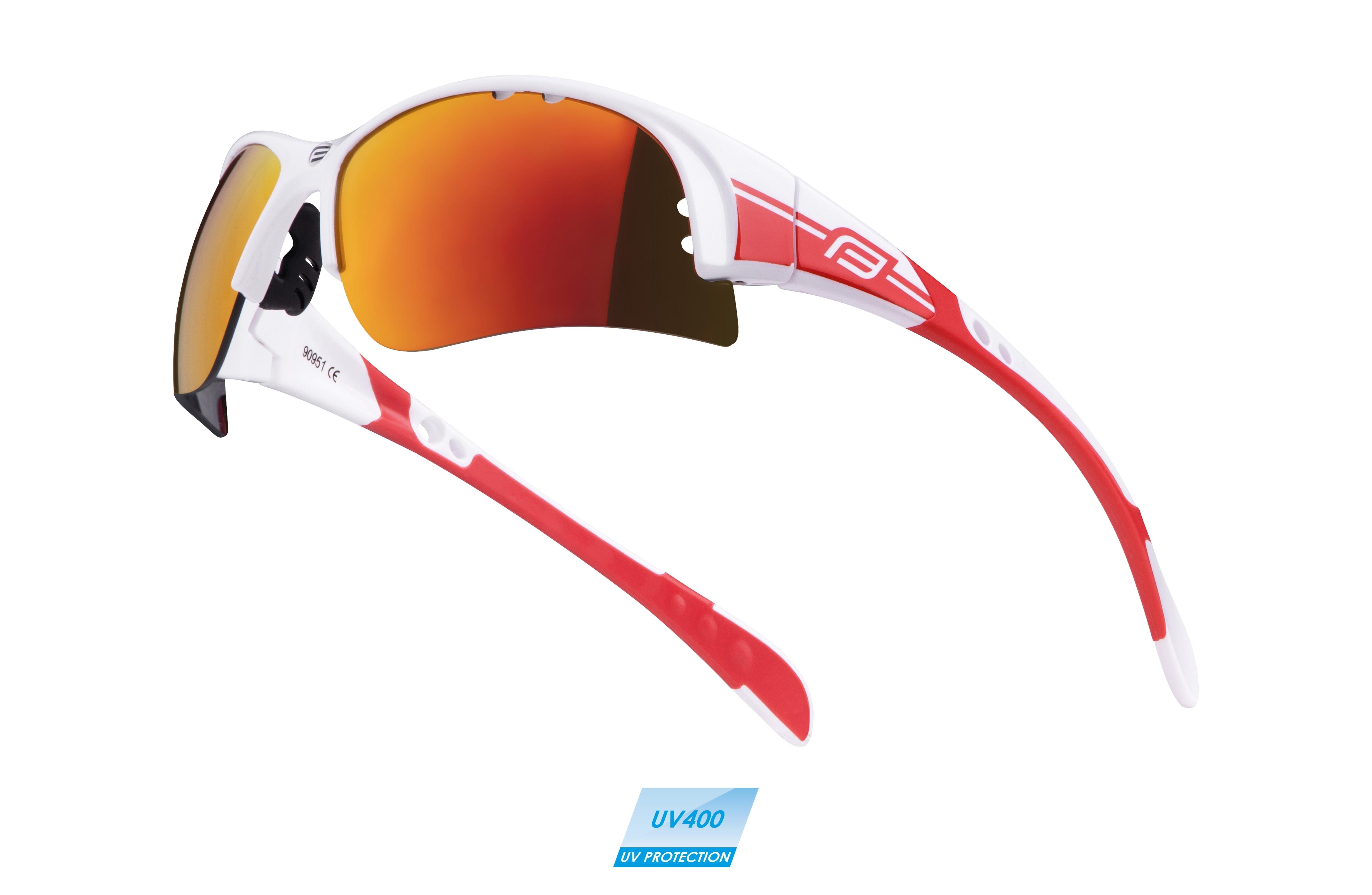 brýle FORCE ULTRA bílé, červená skla 2018