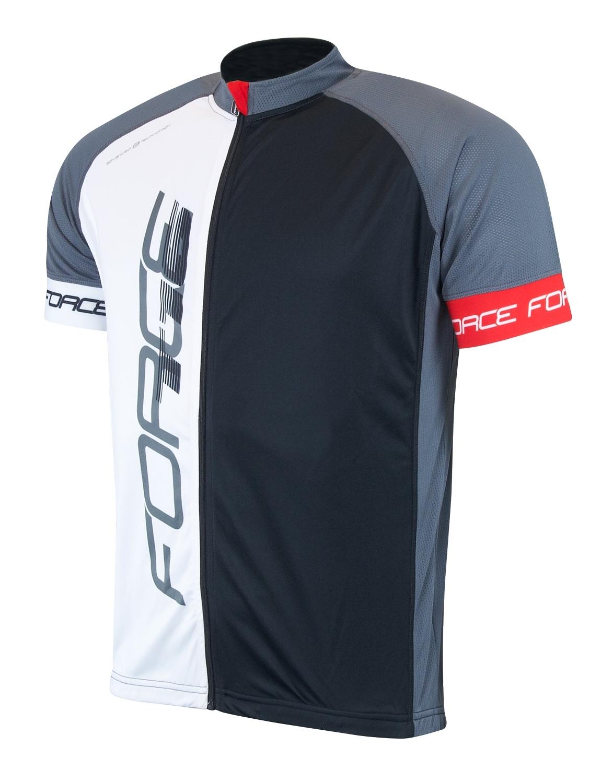 dres FORCE T16 krátký rukáv, černo-šedo-bílý L