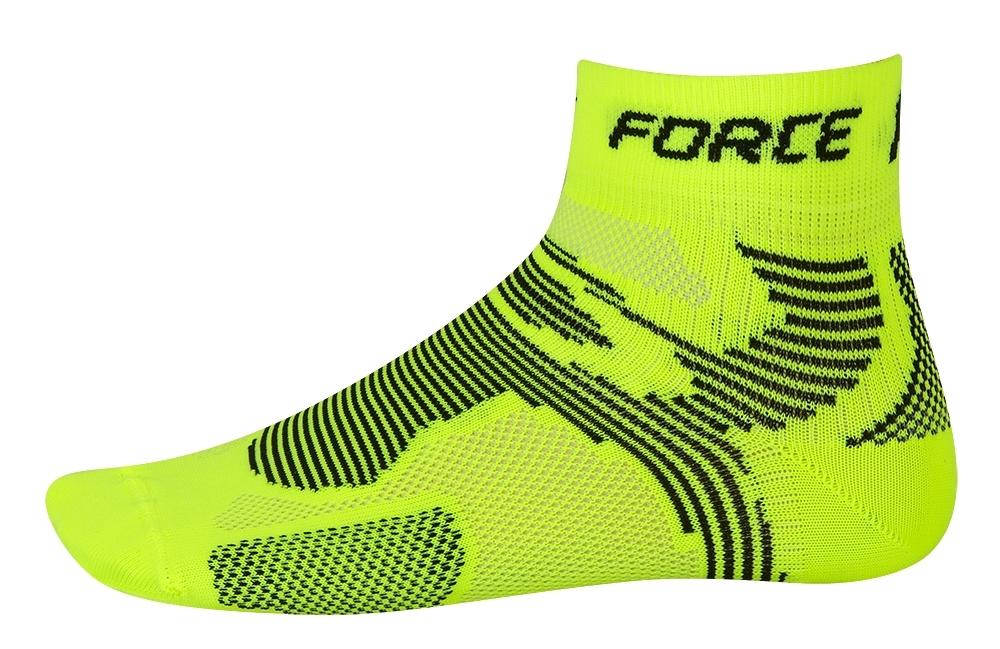 ponožky FORCE 2, fluo-černé L - XL