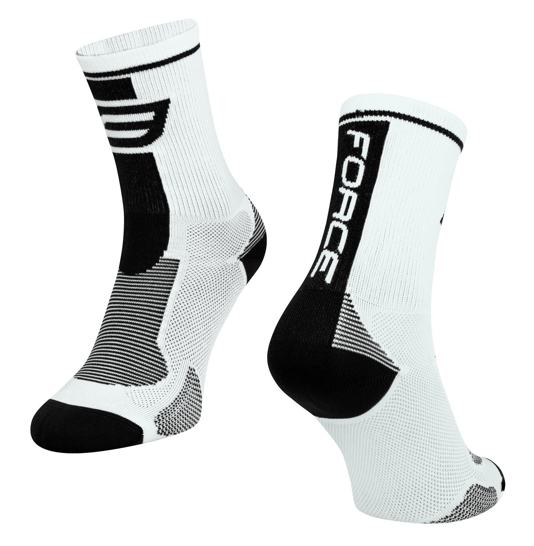 ponožky FORCE LONG, bílo-černé S-M