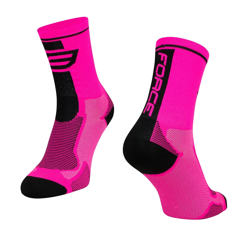 ponožky FORCE LONG, růžovo-černé L-XL