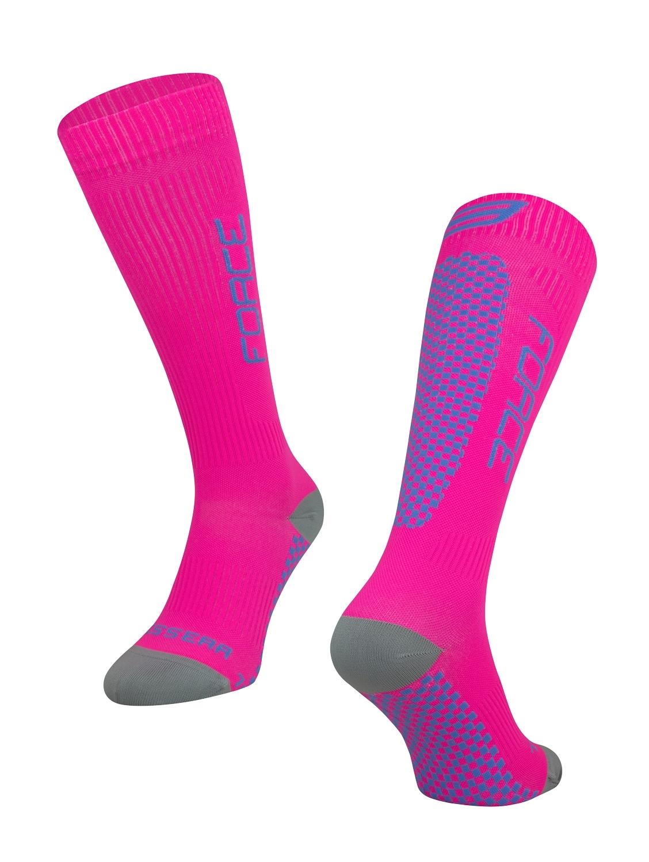 ponožky FORCE TESSERA KOMPRESNÍ, růžové L-XL