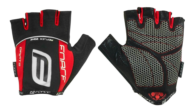 rukavice F DARTS gel bez zapínání, černo-červené L