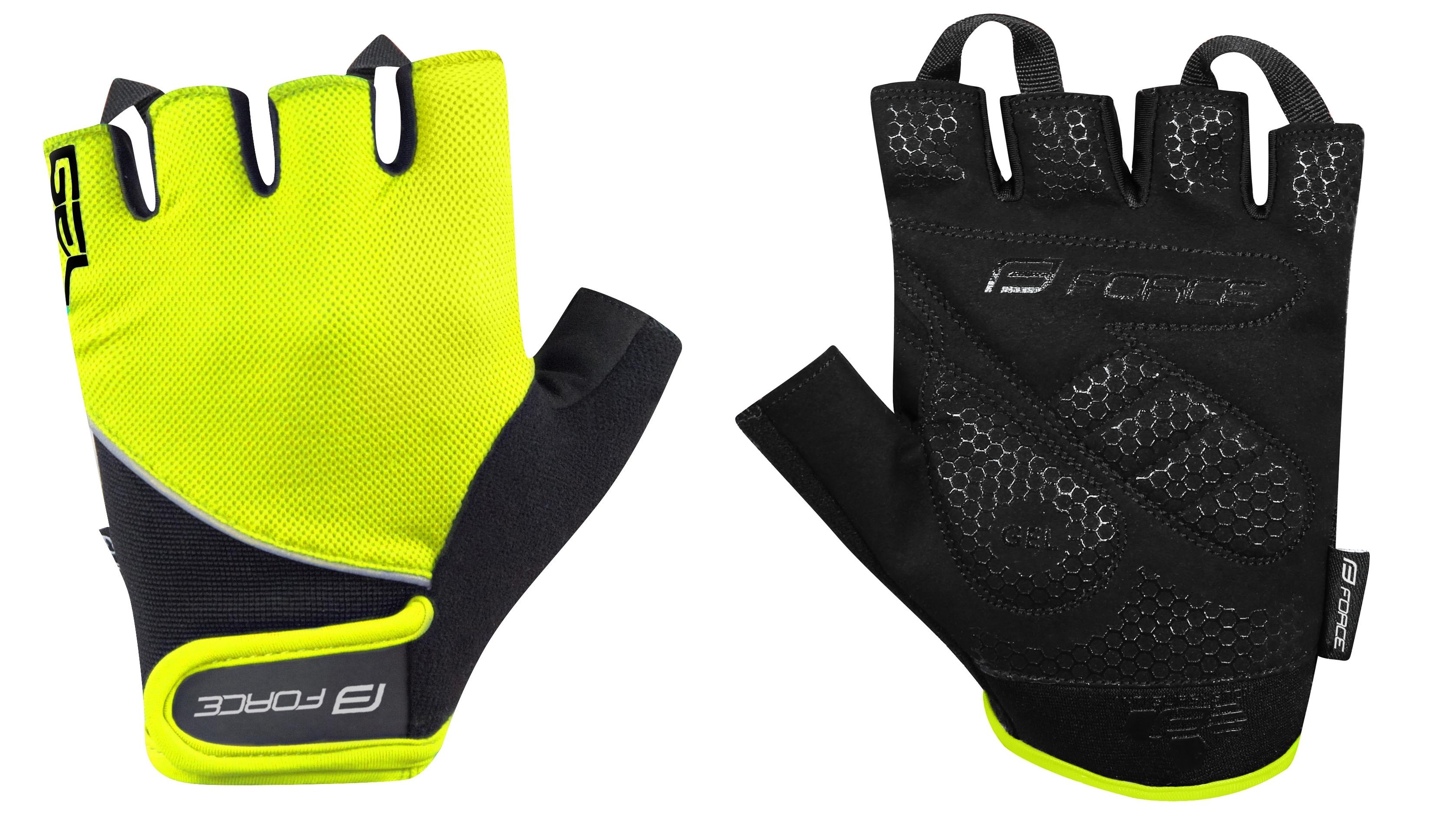 rukavice FORCE GEL , fluo-černé   XL