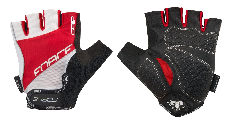 rukavice FORCE GRIP gel, bílo-červené XL