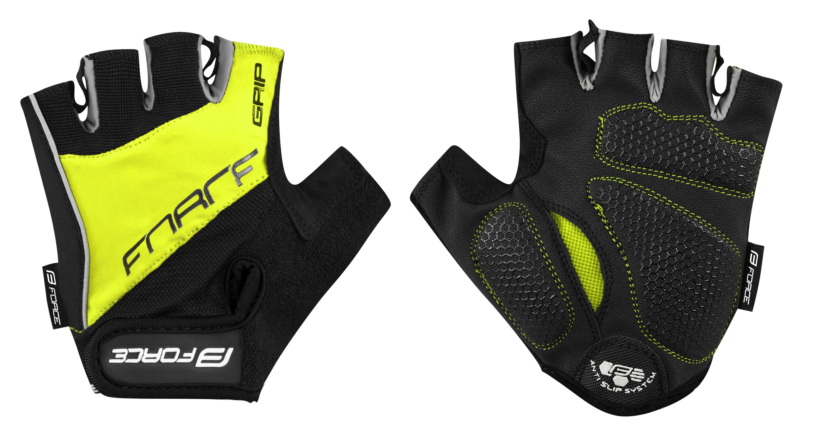 rukavice FORCE GRIP gel, fluo M