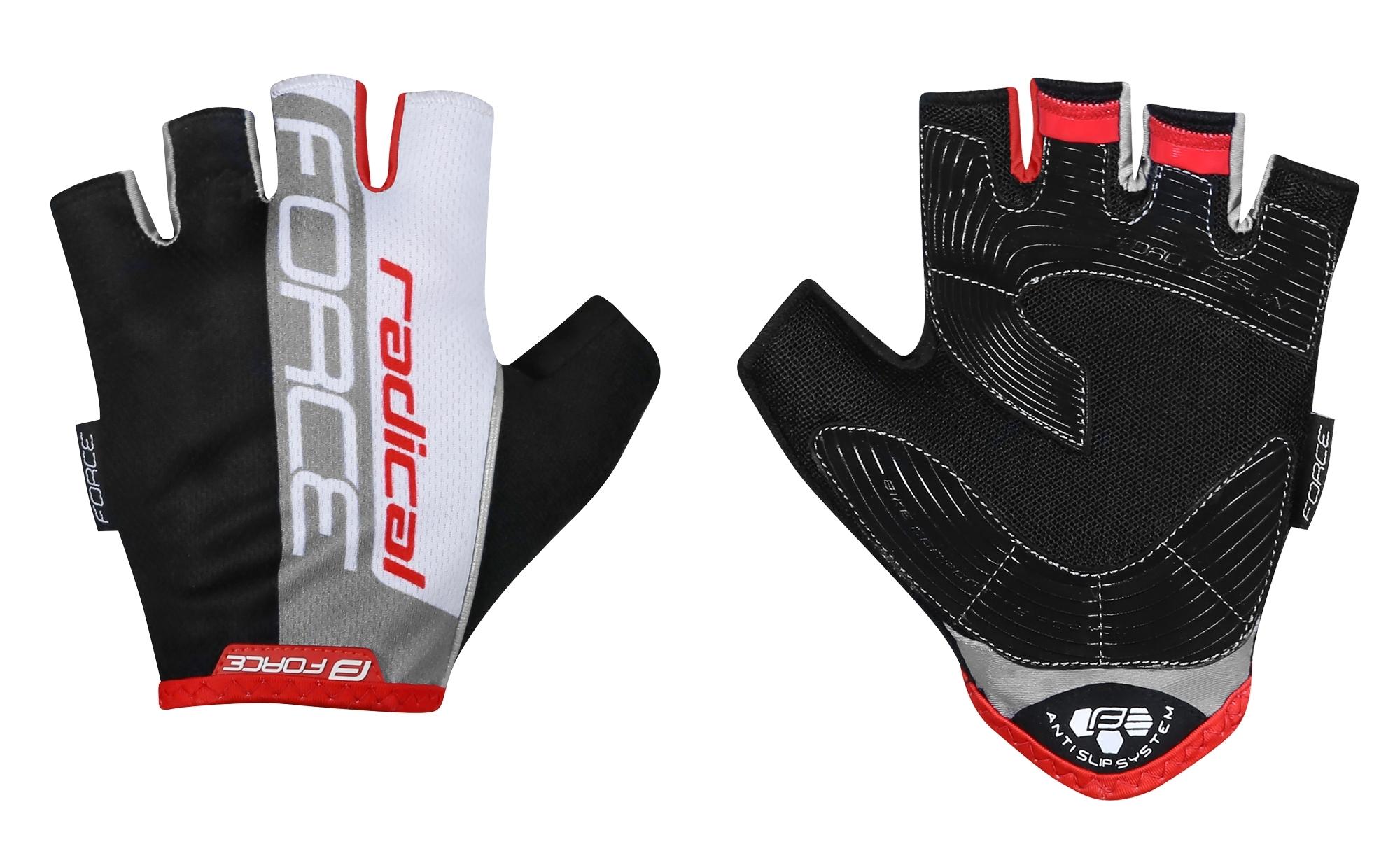 rukavice FORCE RADICAL, černo-bílo-červené XL