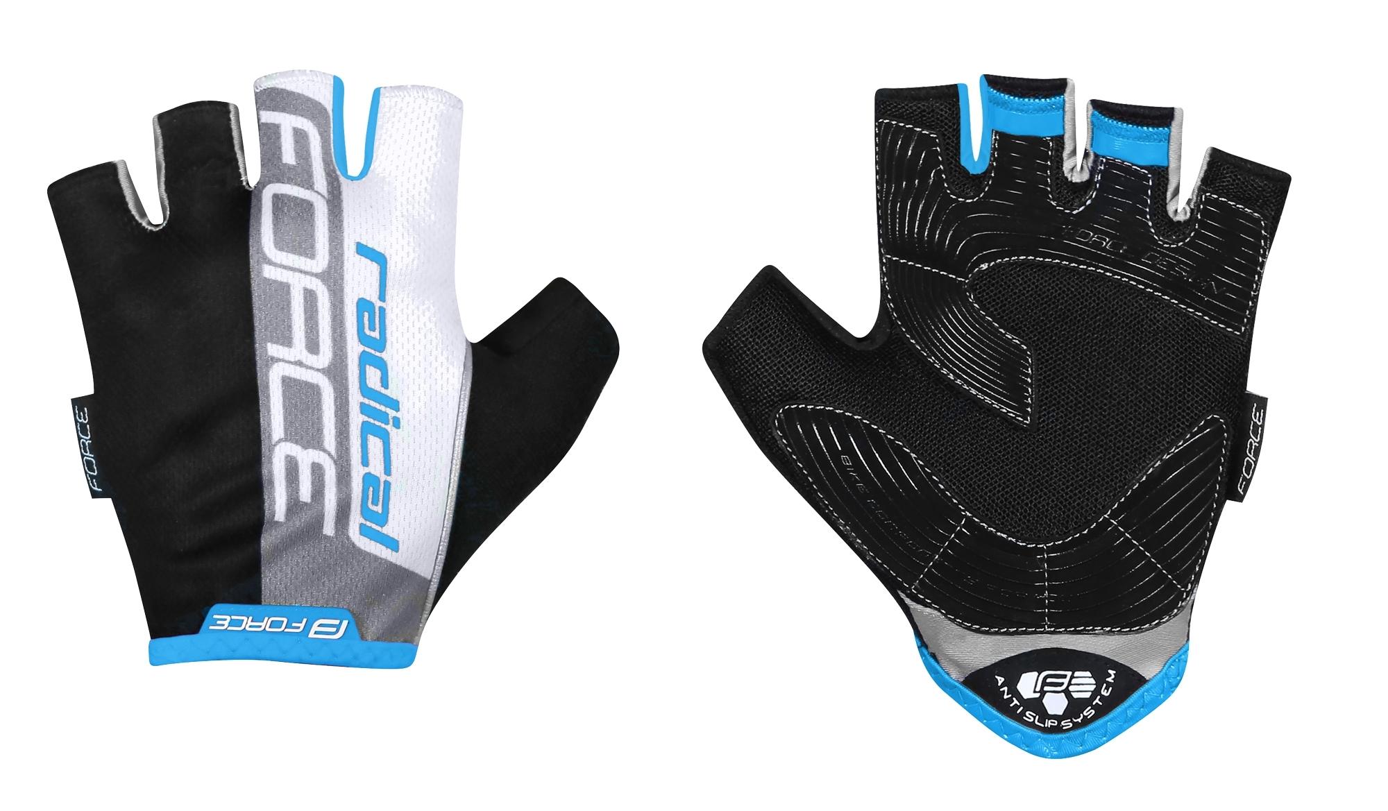 rukavice FORCE RADICAL, černo-bílo-modré L