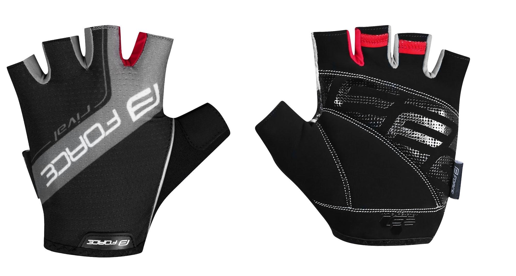 rukavice FORCE RIVAL, černo-šedé S