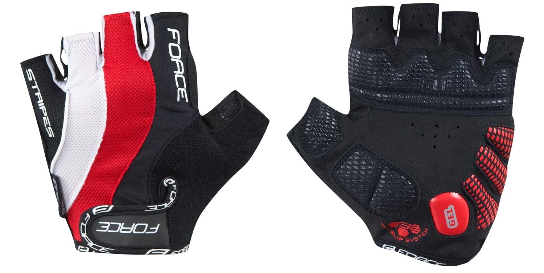 rukavice FORCE STRIPES gel, červené XL