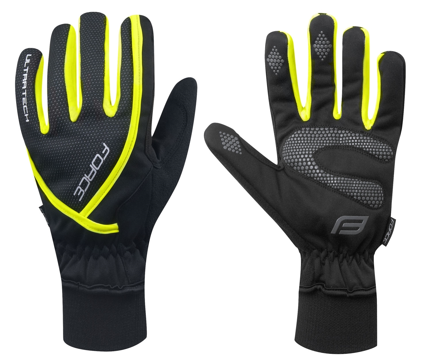 rukavice zimní FORCE ULTRA TECH, fluo XL