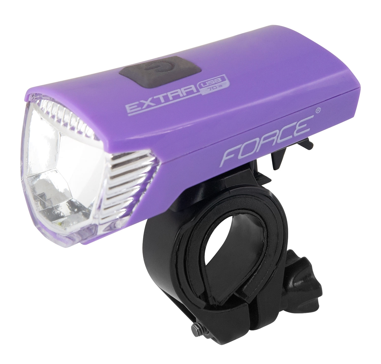 světlo přední FORCE EXTRA USB 1 dioda, fialové