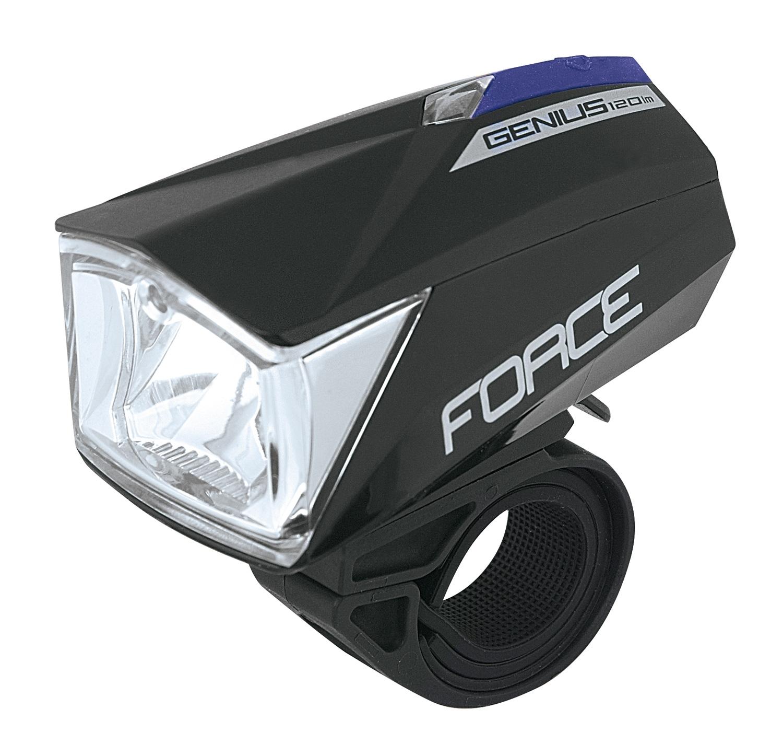 světlo přední FORCE GENIUS 120LM 1dioda USB,černé